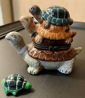 Three Stacked Turtles Hinged Trinket Box With Miniature Turtle