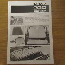 VOLVO série 200 accessoire accessoires marché du Royaume-Uni Brochure Flyer 1977 - 1978