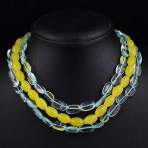 515 Cts Natural 3 Strand Onyx & Aquamarine Oval Shape Beaded Necklace JK 09E374