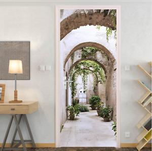 3D Arched Pathway to Gardens Living Room Door Murals Wall Sticker Wallpaper