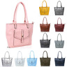 Women's Large Multi-Compartment Faux Leather Handbag Shoulder Tote Shopper Bag