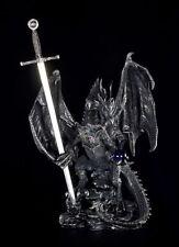 Drachen Figur groß - Schwarz mit Brieföffner - Gothic Deko Fantasy Dragon Statue
