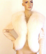 New Ivory Real Fox Fur Wool Long Sleeves Sweater / Jacket Size Med