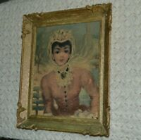 Vintage Ornate Plastic Picture Frame Made in USA Victorian Woman Print Picture