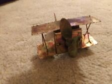Vintage Copper Metal Prop Airplane Wind Up Music Box Plays  Fly Me To The Moon!