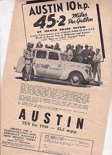 1935 AUSTIN TEN Australian Running Costs & 1940 AUSTIN 10 AMPOL FUEL ECONOMY AD