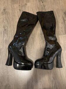 """Women's ELLIE  5"""" Black Faux Patent Leather Side Zipper Platform Boots   7"""