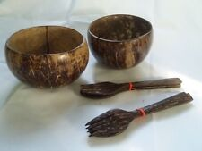 2 SET COCONUT SHELL BOWL & SPOON DRILLS THAI HANDCRAFT WOOD Food Servings Dinner