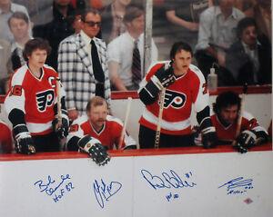 LCB Reggie Leach Bobby Clarke Bill Barber Bob Kelly Signed 16x20 Photo Flyers