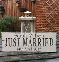 ❤️Wedding sign❤️ Just Married vintage shabby n chic personalised free standing