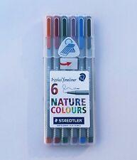 STAEDTLER triplus fineliner 334SB6CS2  0.3mm  6 assorted NATURE colors Pen SET