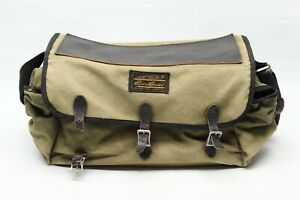 VTG Eddie Bauer Canvas Leather Field Bag Green Black Tackle Box Camping Pack