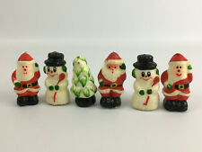 6 Small Assorted Vintage Novelty Christmas Candles Santa Snowman Tree