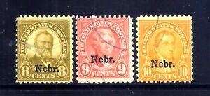 US Stamps -  #677-679 - USED - 8-10 cent Nebraska Overprint Issues - CV $75