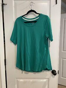 Isaac Mizrahi Live Essentials Pima Cotton Scoop Neck T Shirt 1x In Brillant Jade