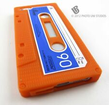ORANGE CASSETTE TAPE SILICONE RUBBER SKIN CASE COVER APPLE IPHONE 5 5S SE