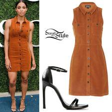 Topshop Brown Cord Mini Button Down Dress, UK Size 8