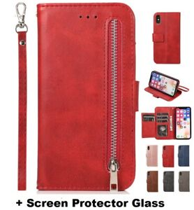 Leather Zipper Wallet Card Holder Flip Case Cover iPhone 12 11 Pro XS XR X 8 7 6