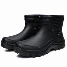 Mens Waterproof Rubber Ankle Pull On Rain Boots Fishing Outdoor High Top Shoes