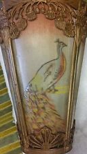 Art Deco Hanging  Lamp ~Hand Painted Peacocks/Brass Frame ~ Circa 1920's  Works