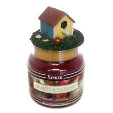 Yankee Candle HEARTS & FLOWERS Black Band w/Topper Birdhouse 3.7 oz Jar Unused
