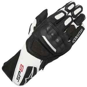 Mens Alpinestars Motorbike Gloves SP8 V2 Leather Motorcycle Black White Medium