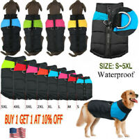 Fashion Pet Dog Clothes Autumn Winter Warm Waterproof Padded Coat Vest Jacket -