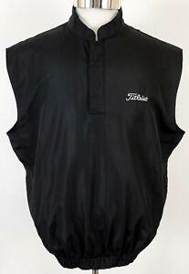Footjoy Titleist Golf Windbreaker Vest Jacket Black 1/2 Snap Elastic Waist Small