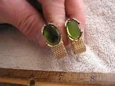 Vintage Swank Wrap Around Cufflinks with Green Stones