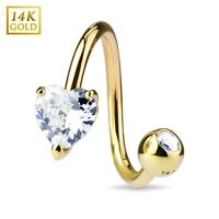 14K. Solid GOLD Clear Heart TWIST Belly Button NAVEL Bar RINGS Piercing Jewelry