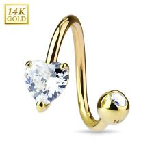 14K Solid GOLD Clear Heart TWIST Belly Button NAVEL Bar RINGS Piercing Jewelry
