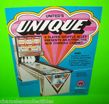 UNIQUE By UNITED 1975 ORIGINAL ARCADE GAME SHUFFLE ALLEY BOWLING ALLEY FLYER
