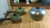 Vintage Club Aluminum 1,2qt Saucepans/Lids,4qt Stock Pot/Lid,green,rare,gd!
