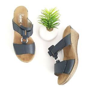 Rieker Regina Slide Sandal Navy Blue Faux Leather Wedge Shoes Womens Size 36 5.5
