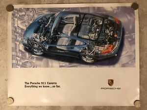 """1992 Porsche 911 Carrera Coupe """"Everything """" Exposed View Showroom Poster RARE"""
