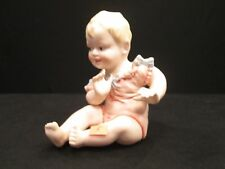 Bisque Piano Baby Girl Pink Dress Blue Bow 23/112 German Antique Victorian Doll