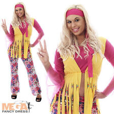 Hippie Woman Ladies Fancy Dress 1970s 1960s Womens Hippy Adults Costume Outfit