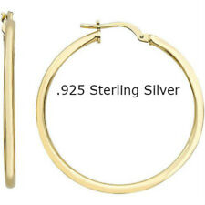 14K Gold Over 925 Sterling Silver Round Hinged Hoop Sleeper Earring Real Silver