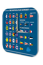 Wall Clock Holiday Travel Agency  Nautical flags alphabet Acrylglass