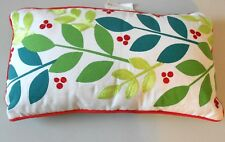 Christmas Be Merry Pillow w/ Embroidered Holly Berries & Leaves