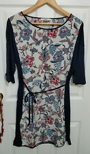 OASIS Sz L Navy Blue Cream Shift Dress Floral Paisley Tie Up Summer White Tunic
