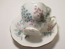 ROYAL ALBERT ENG CHINA CUP&SAUCER WHITE WITH PRETTY PINK FLOWERS & BLUE EXC COND