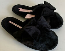NEW! VICTORIA'S SECRET VS BLACK BOW SOFT PLUSH BEDROOM SLIPPERS SMALL 5 / 6 SALE