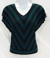 Women's Medium Green/Black Striped Epic Threads Knit Top