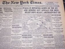 1928 MAY 27 NEW YORK TIMES - ITALIA IS REPORTED DOWN ON THE ICE - NT 5119