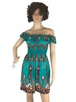 Women Dress Stretch Off the shoulder Ruffle Short Sleeves Mini Dress  Flowy S