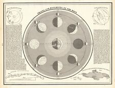 1884 Antique ASTRONOMY Print Vintage Moon Phases New Moon Full Moon Print 6574