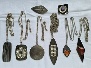 group vintage 1970s modernist pendants & brooches