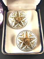 NIB MONTANA SILVERSMITHS 14K GP TEXAS LONGHORN 5 POINTED STAR PIERCED EARRINGS
