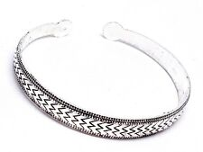 Tibetan Silver Zig Zag Bracelet Bangle Cuff Adjustable Bohemian